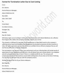 Example Letter Of Termination Sample Termination Letter To Employee Due To Cost Cutting