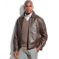 big and tall leather er jacket in brown for men milk chocolate
