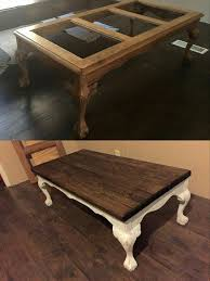 redo coffee table with wooden top instead of glass