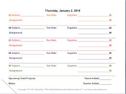 Homework Agenda Printable Student Planners