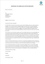 Letter Of Complain Template Sample Response To Complaint Letter On Employee