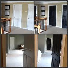 paint a single coat on each side move on to another door or two go back to the first door for a second coat with painting doors and trim diffe