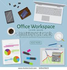 designer office desk isolated objects top view. website banner of a business design concept top view office work table with gadgets and designer desk isolated objects i