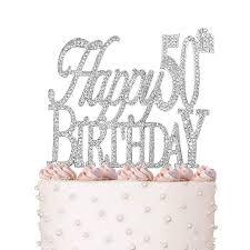 Happy 50th Birthday Cake Topper Crystal Rhinestones On Silver