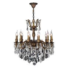 worldwide lighting versailles 12 light antique bronze crystal chandelier