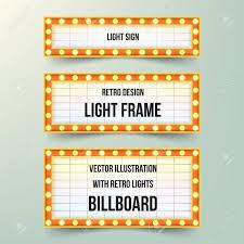 Photo Frame Light Design Set Of Retro Banners With Bulbs Vintage Retro Light Frames