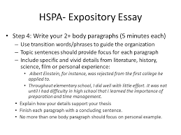 hspa expository essay you will be asked to write at least a  hspa expository essay step 4 write your 2 body paragraphs 5 minutes