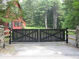 modern ranch design wooden automated swing gate by tri state gate new york