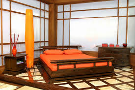 japanese wooden bed frame designs with tower floor lamp and orange color schemes