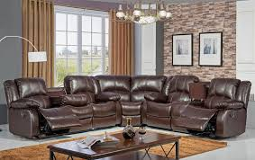 sf3592 brown leather recliner sectional jpg