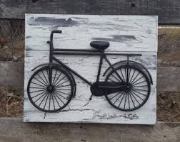 bicycle wall art reclaimed wood and bicycle wall art shabby chic wall art bicycle wall decor shabby chic wall decor metal bicycle on metal bike wall art with bicycle wall art etsy