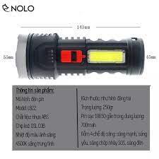 Đèn Pin Sạc LED OSL COB Siêu Sáng 4 Chế Độ Sáng Model L822 Dung Lượng Pin  700mah Có Báo Mức Pin Vỏ Nhựa ABS