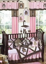 pink and brown crib bedding a pop of pink dark gray walls with a brown crib and white bedding and a bright pink crib skirt pink and brown erfly crib set