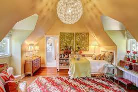 Cute girls bedroom with large round light