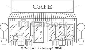 restaurant building clipart black and white. Interesting And Vector Illustration Of Building Restaurant And Cafe Line Icon In Clipart Black White A