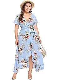 0x Plus Size Chart Milumia Women Plus Size Wrap V Neck Floral Boho Dress Lining