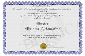 master diploma automotive