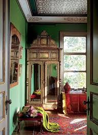 red furniture ideas. Moroccan-styled Interior With Sage Green Walls And Red Upholstered Furniture Textiles Ideas