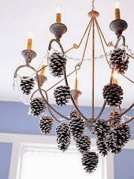 decorations inspiring chandelier with hanging pine cones decorating ideas creative decorating ideas for