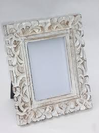 vintage white washed wooden photo frame leaf enlarge image