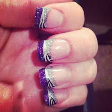 Pink Purple And Silver Nail Designs Purple Zebra And Silver Glitter French Tip Purple