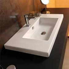 bathroom sink tecla can03011 rectangular white ceramic wall mounted or drop in sink