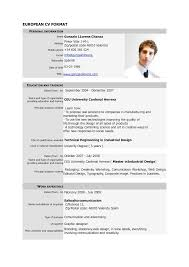Resume Format Pdf Free Download Free Download Cv Europass Pdf Europass Home European Cv Format Pdf 1