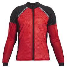 bohn armor all season airtex motorcycle shirt with zipper red front