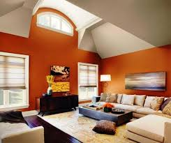 orange wall paint15 Solid Color Living Rooms with Wall Paintings  Rilane