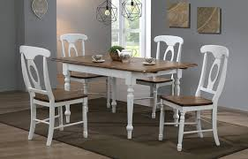solid parawood pacifica rectangle extension table four chair set in rustic brown and white finish