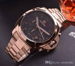rose gold stainless steel band black face mens fashion wrist watch rose gold stainless steel band black face mens fashion wrist watch luxury brand 6hands display waterproof