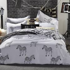 whole black and white zebra bedding set king queen double full twin size duvet cover flat sheet pillow case 3 bed linen set brown duvet cover bedding