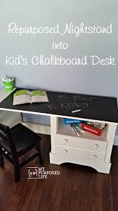 Using small pieces of furniture like nightstands is a great way to make a  desk for the kids. This was a free nightstand and was made of particle  board.