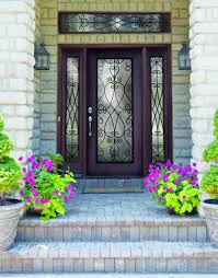 Decoration Inspiring Black Double Entry Doors With Wrought Iron - Exterior door glass insert replacement
