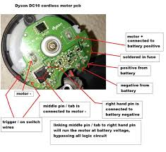 dyson dc cordless alternative powering options fix modding photo showing pcb mounted on motor
