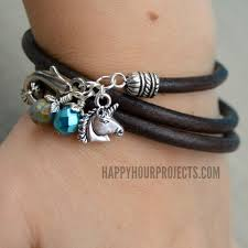 diy leather wrap charm bracelet with unicorn at happyhourprojects com