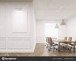 Living Room With White Walls Meeting Room Interior With White Walls Long Conference Table