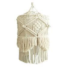Boho Light Shade Zslmx Boho Chic Handmade Knotting Macrame Lampshade Fabric