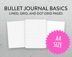 A4 Grid Dot Grid Lined Pages Bullet Journal Pages Etsy