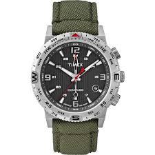 t2p286za timex intelligent green watch 43mm timex intelligent t2p286za men s watch compass green nylon canvas strap