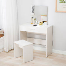 Vanity White Dressing Table&Stool Set Makeup Dresser Desk with Mirror Drawer