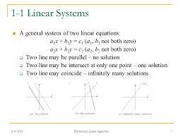 1 1 linear systems a general system of two linear equations