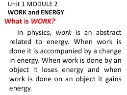 Unit 1 Module 2 Work And Energy
