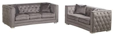 deluca 2 pieces embellished tufted sofa