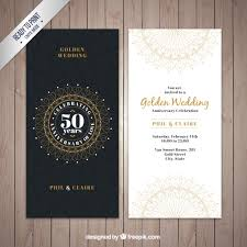 clic golden wedding invitation free vector