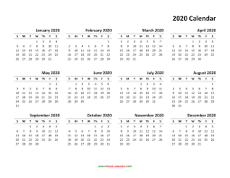 Free Calendars For 2020 Yearly Calendar 2020 Free Download And Print