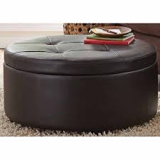 round leather ottoman. Fabulous Large Round Ottoman With Storage Attractive Brown Leather