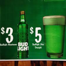 Green Bud Light Bottles