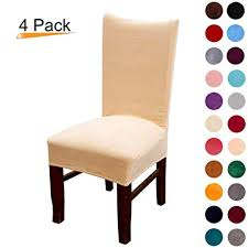 colorxy velvet spandex fabric stretch dining room chair slipcovers home decor set of 4 peach