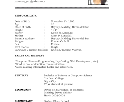 Impressive Example Of Basic Resume Templates Format For Job